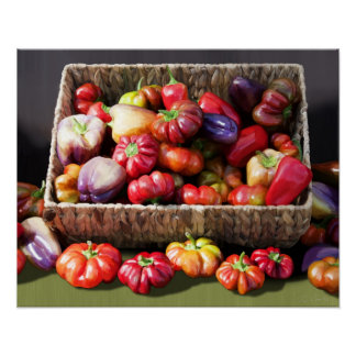 Digital painting of colorful heirloom peppers. print