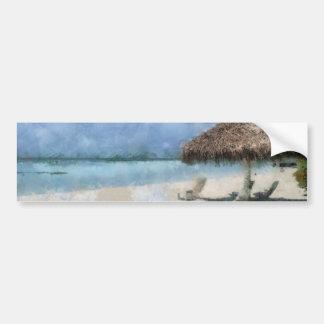 Digital Painting of Maldives Beach Hut Car Bumper Sticker
