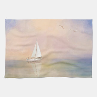 Digital Painting of Sailboat and Seagulls Tea Towel