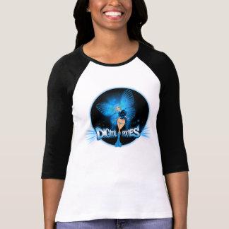Digital Pixies Blue Pixie - Ladies 3/4 Sleeve Ragl Tee Shirts