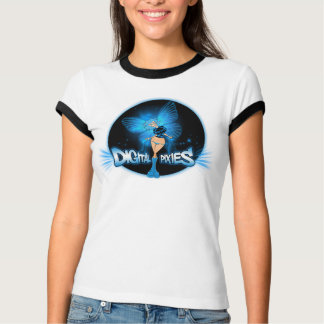 Digital Pixies Blue Pixie - Ladies Ringer T-Shirt