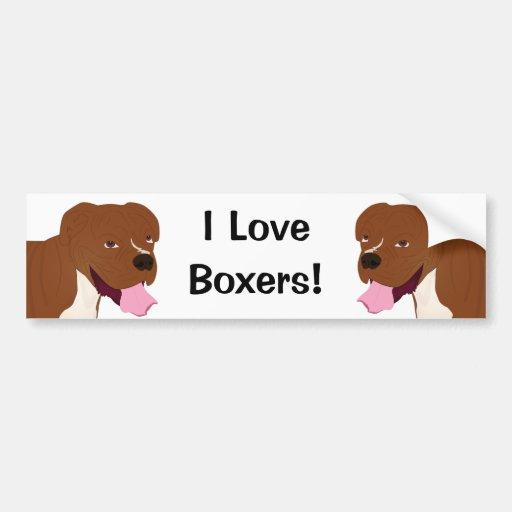 Digital Portrait of a Boxer Dog Smiling Bumper Stickers