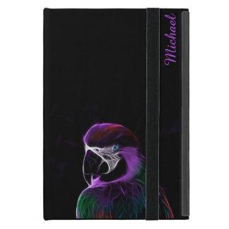 Digital purple parrot fractal case for iPad mini