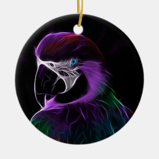 Digital purple parrot fractal christmas ornament