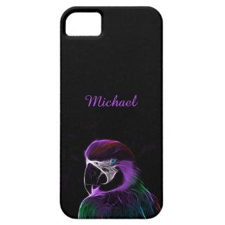 Digital purple parrot fractal iPhone 5 case