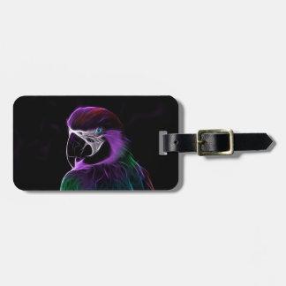 Digital purple parrot fractal luggage tag