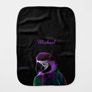 Digital purple parrot fractal name baby burp cloth