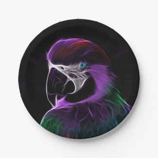 Digital purple parrot fractal paper plate