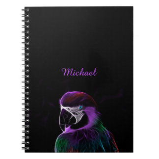Digital purple parrot fractal spiral notebooks