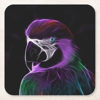 Digital purple parrot fractal square paper coaster