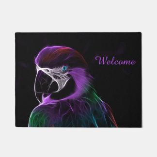 Digital purple parrot fractal welcome doormat