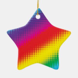 Digital Rainbow Lines Ceramic Star Decoration
