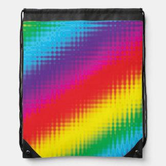 Digital Rainbow Lines Drawstring Bag