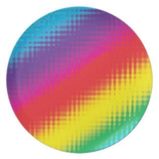 Digital Rainbow Lines Party Plate