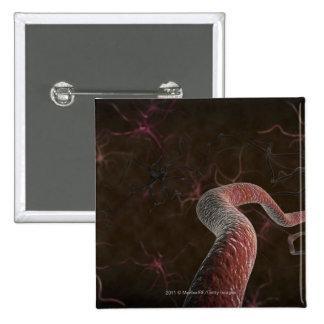 Digital rendering of neurons 15 cm square badge
