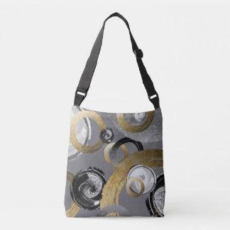 Digital Rough Gold Rings Black and White Circles Crossbody Bag