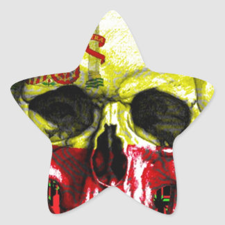 digital Skull (flag of spain) Star Sticker