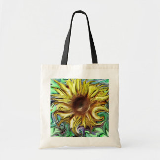 Digital sunflower slightly abstract tote bag