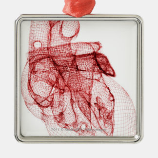 Digital wireframe of the human heart Silver-Colored square decoration