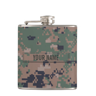 Digital Woodland Camouflage Customizable Hip Flask