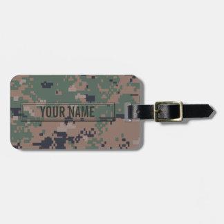 Digital Woodland Camouflage Customizable Luggage Tag