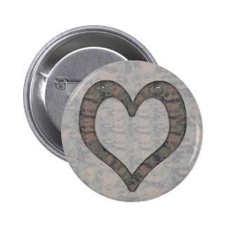Digital Woodland Camouflage  Heart on Camo 6 Cm Round Badge