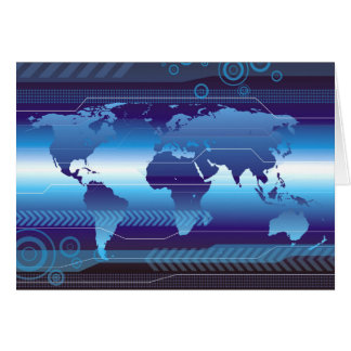 Digital World Map Greeting Card