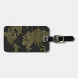 Digital World Map Luggage Tag