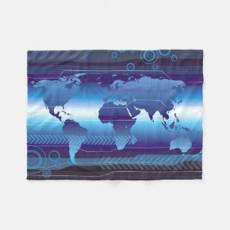 Digital World Map Small Fleece Blanket