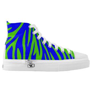 Digital Zebra Blue Green Printed Shoes