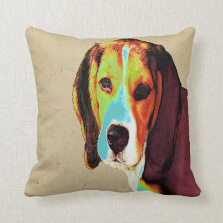 Digitally Colored  Beagle Cushion