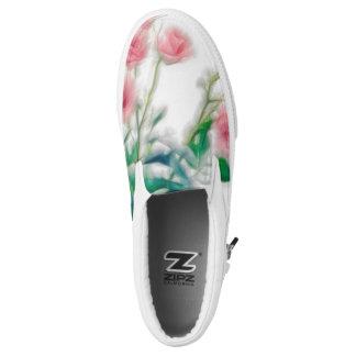 Digitally enhanced image of pink rose flower bouqu slip on shoes