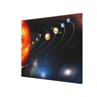 Digitally generated image of our solar system canvas print