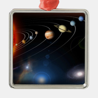 Digitally generated image of our solar system christmas ornament