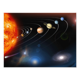 Digitally generated image of our solar system photographic print