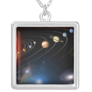 Digitally generated image of our solar system silver plated necklace