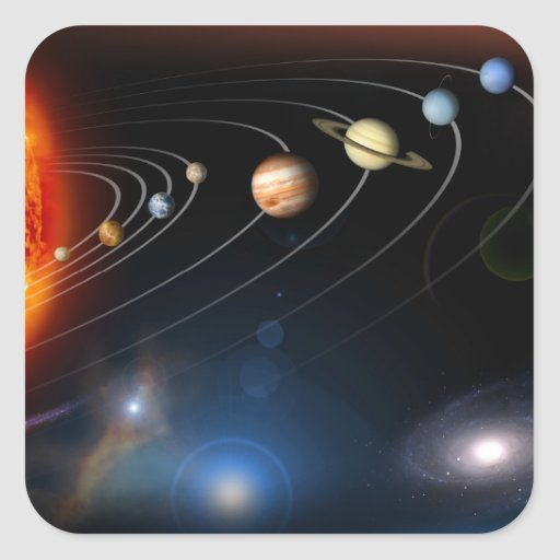 Digitally generated image of our solar system sticker