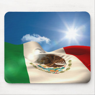 Digitally Generated Mexico Flag Rippling Mouse Mat