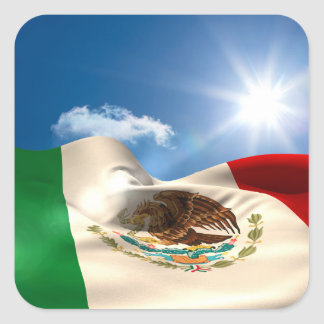 Digitally Generated Mexico Flag Rippling Square Sticker