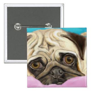 Digitally Painted Pug with Sad Eyes Lying on Rug 15 Cm Square Badge