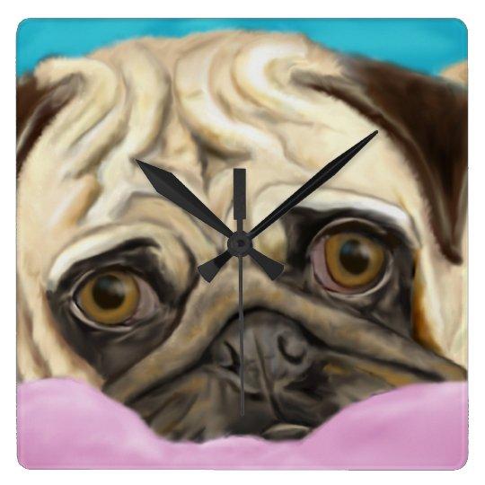 Digitally Painted Pug with Sad Eyes Lying on