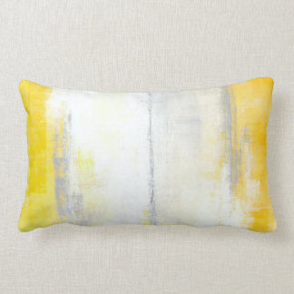 'Digits' Grey and Yellow Abstract Art Pillow