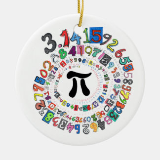 Digits of Pi Form a Colorful Spiral Round Ceramic Decoration