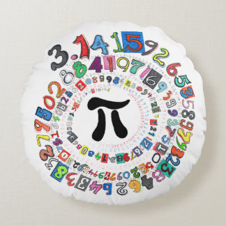 Digits of Pi Form a Colorful Spiral Round Pillow