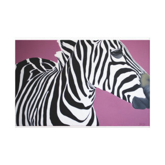 """Dignified"" Zebra on purple background. Canvas Print"