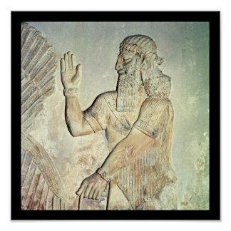 Dignitary, relief, Assyrian Poster