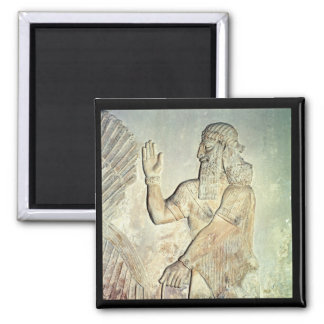 Dignitary, relief, Assyrian Square Magnet