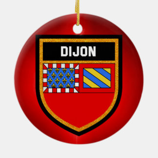 Dijon Flag Round Ceramic Decoration