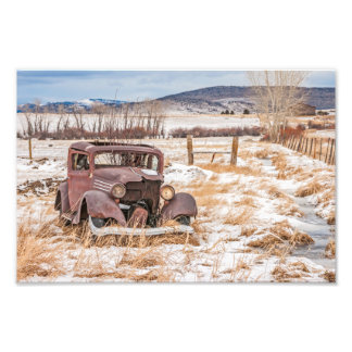 Dilapidated Old Vehicle, Winter, Rural, Mountains Photographic Print