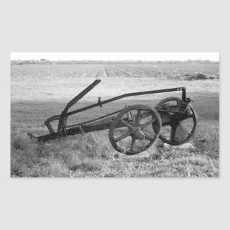 Dilapidated Vintage Farm Equipment Rectangular Sticker